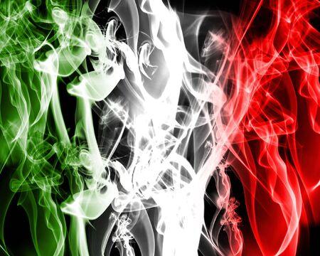 green smoke: abstract italian flag made of smoke Stock Photo
