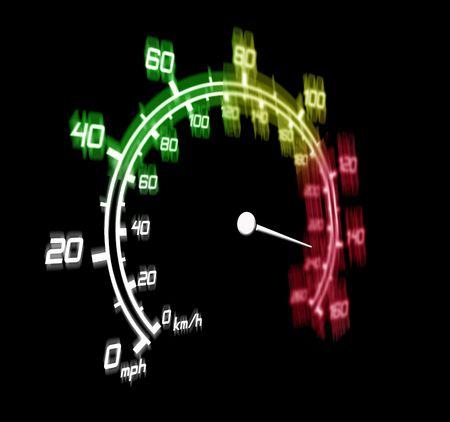 illustration of the speeding car speedometer dangerous zone illustration