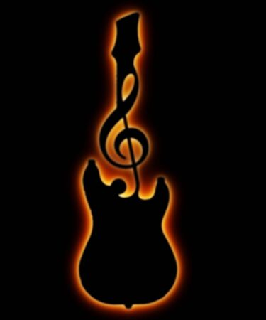 illustration of the guitar and musical sign shape