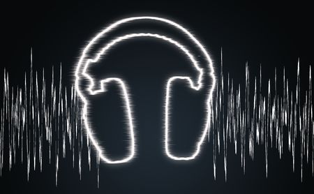 audiowave: illustration of the headphones and sound wave Stock Photo