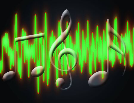 audiowave: illustration of green soudwave and musical signs