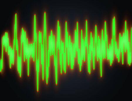 audiowave: illustration of red stroked green soundwave