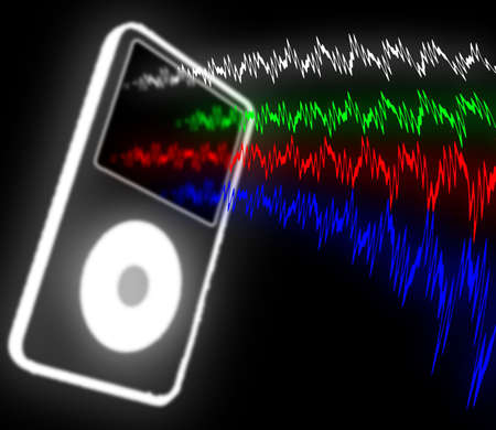 audiowave: illustration of the pocket media player and sound waves