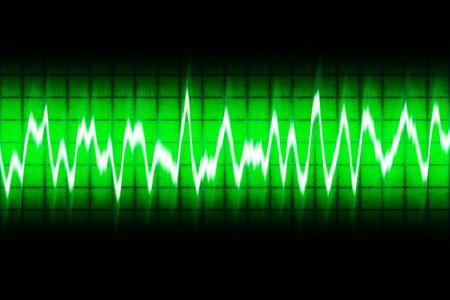 illustration of white soundwave on green screen illustration