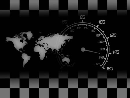 formula one racing: illustration of the speedometer map and racing flag Stock Photo
