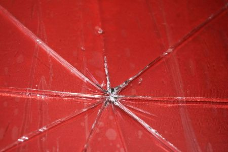 photo of broken red glass table Stock Photo - 6047681