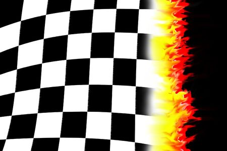 drag: illustration of the burning checkered racing  flag