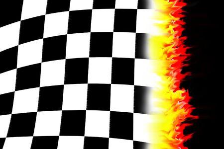 drag race: Ilustraci�n de la quema ajedrezeada bandera de carreras