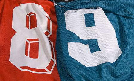 photo of the different team uniforms eight and nine Stock Photo