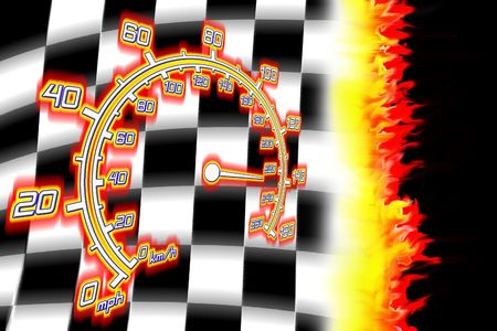 illustration of the burning checkered racing  flag illustration
