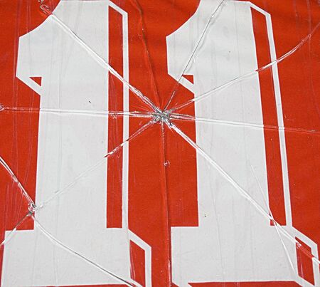 eleven: photo of number eleven and broken glass Stock Photo