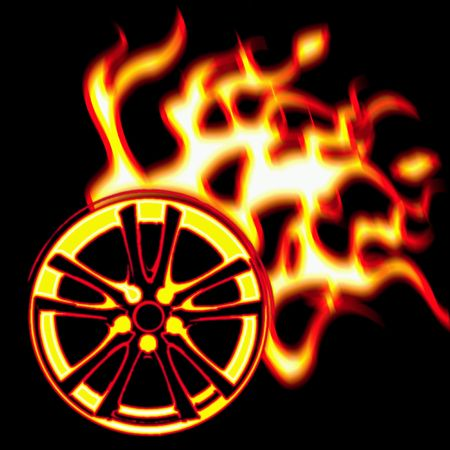 illustration of the burning wheel Stock Illustration - 6394559