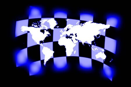sidecar motocross racing: illustration of the checkered flag and world map