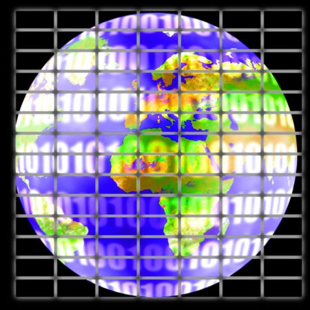 0 geography: illustration of the earth globe on futuristic screen