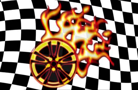 illustration of burning wheel on checkered racing flag illustration