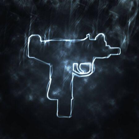 illustration of automatic gun in the smoke illustration