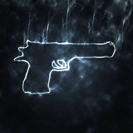 illustration of semi automatic gun in the smoke illustration