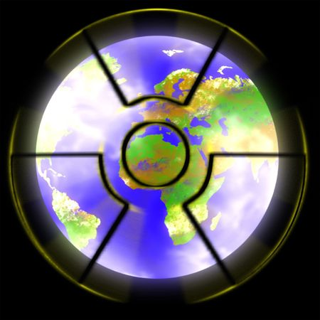 illustratio of earth planet and nuclear sign Stock Photo - 6559666