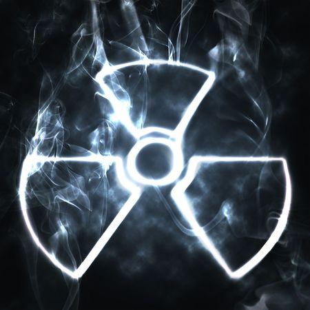 riesgo biologico: Ilustraci�n del signo nuclear en humo