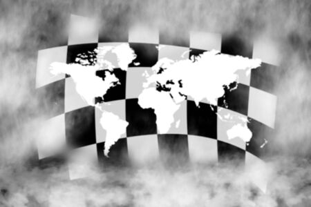 sidecar motocross racing: chechered race flag and world in the smoke Stock Photo