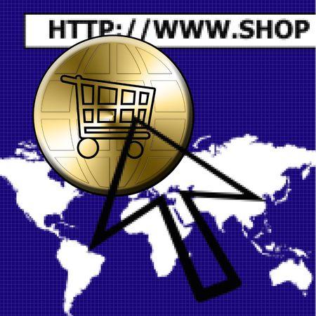 comerce: illustration of the global electronic comerce