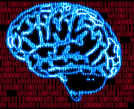 binary matrix: illustration of the humans brain and binary code Stock Photo