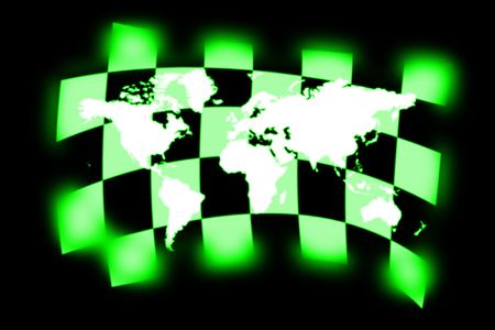 sidecar motocross racing: illustration of the world map on checkered flag