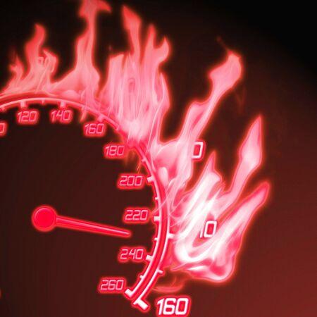 illustration of the red burning speedometer illustration