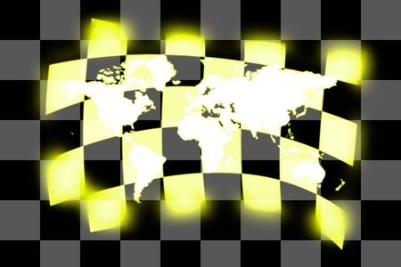 sidecar motocross racing: illustration of the planet earth map on racing flag