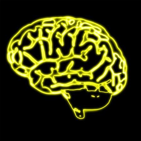organos internos: Ilustraci�n del cerebro abstracto amarillo sobre negro