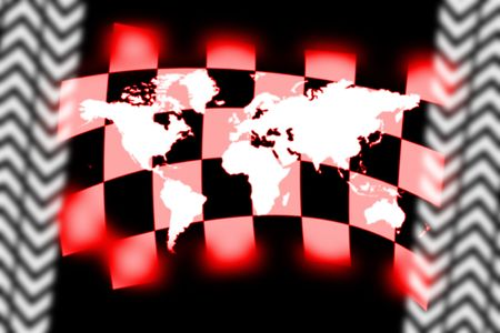 sidecar motocross racing: illustration of worlds map and checkered flag