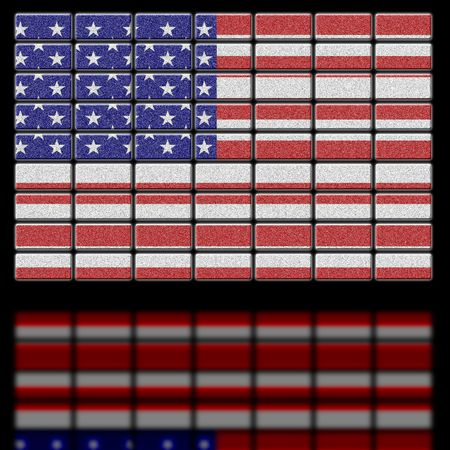 united states of america flag on futuristic screen photo