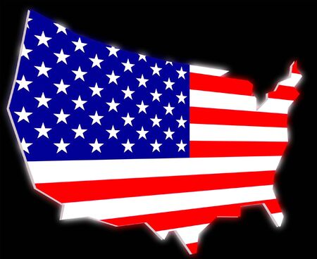 united states of america flag on usa map shape Stock Photo - 6867947