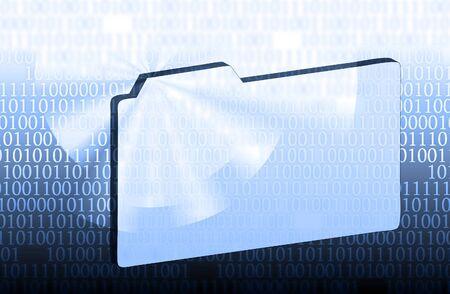illustration of the folder and binary code Stock Illustration - 7152180