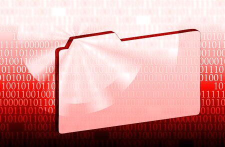 binary file: illustration of the file and binary code red Stock Photo