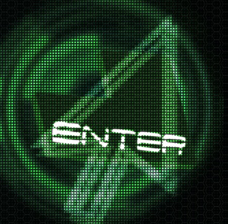 futuristic design computer arrow and word enter photo
