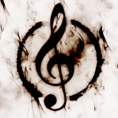 burned g-clef sign white black photo