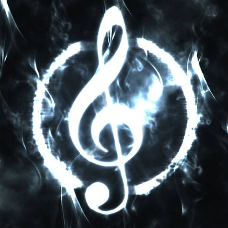 burned g-clef sign white black