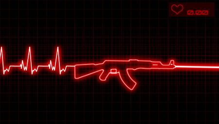 illustration of the heartbeat and automatic rifle Stock Photo