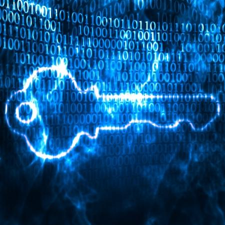 Ilustración de la clave y contraseña de código binario
