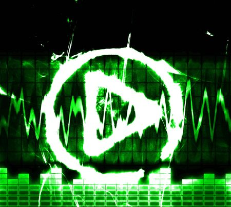 g clefs: play button sign and equlizer grunge Stock Photo