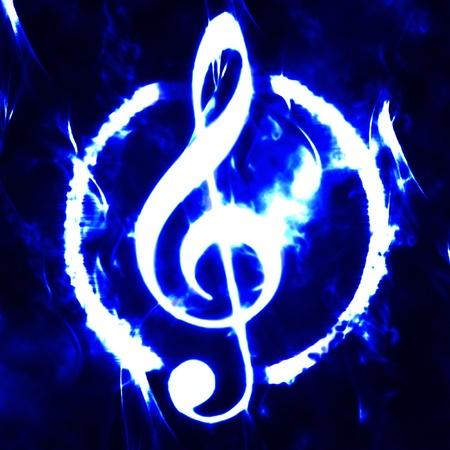 burned g-clef sign white black