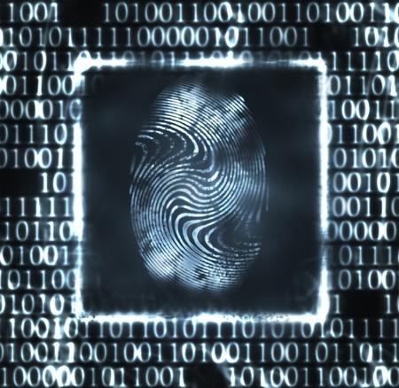 codigo binario: Ilustraci�n abstracto del c�digo de impresi�n y binarios de dedo