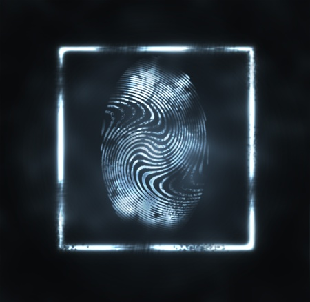 thumbprint: abstract illustration of the finger print in frame