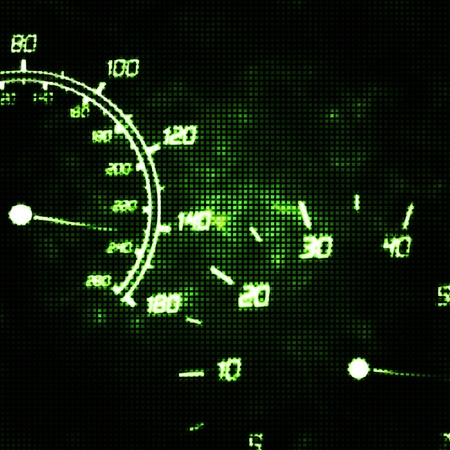 mileage: the speedometer and tachometer speeding abstract illustration Stock Photo
