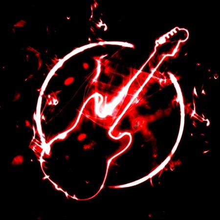 grunge illustration of guitar sign in the smoke illustration