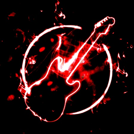 grunge illustration of guitar sign in the smoke
