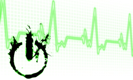 taking pulse: abstract on off button over heartbeat background Stock Photo