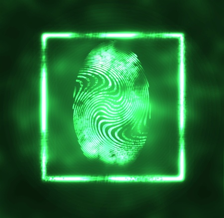 robbery: abstract illustration of the finger print in frame