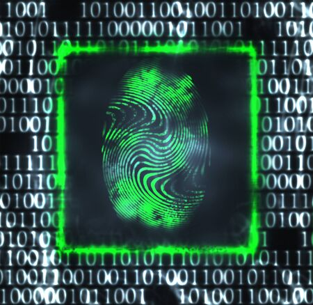 private access: abstract illustration of the finger print and binary code Stock Photo